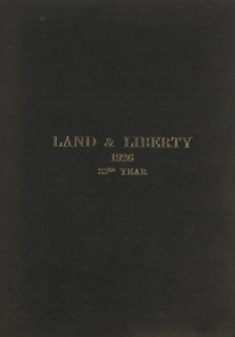 Land and Liberty 1926 - 33rd Year