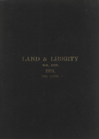 Land and Liberty Vol 22 - 1921