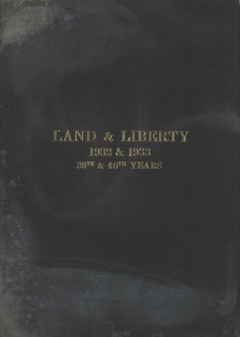 Land and Liberty 1932-33 - 39th-40th Year