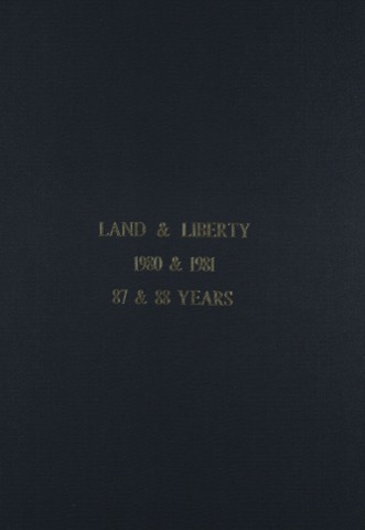 Land and Liberty 1980-1981 - 87th & 88nd Years